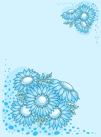 temperate: The blue flowers card. Illustration