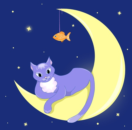 moon light: The cat lies on a half moon. Illustration