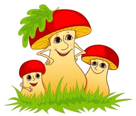 Family of mushrooms. Vector