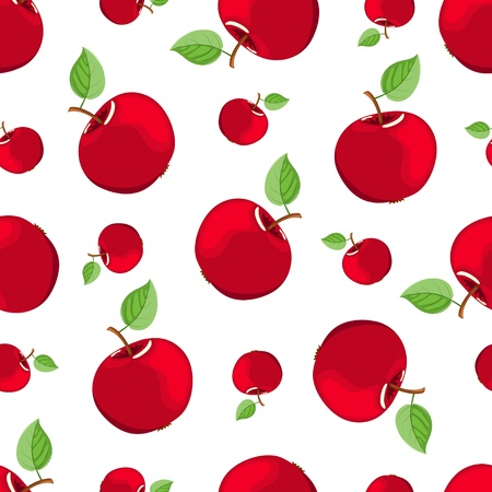 Seamless red apple pattern Vector