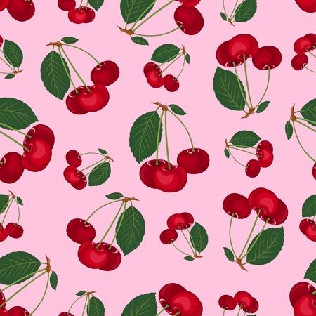 fruit stem: Seamless cherry pattern.