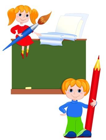 Children in the class. Vector