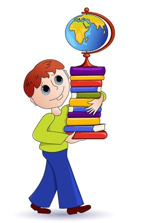 El niño y libros.