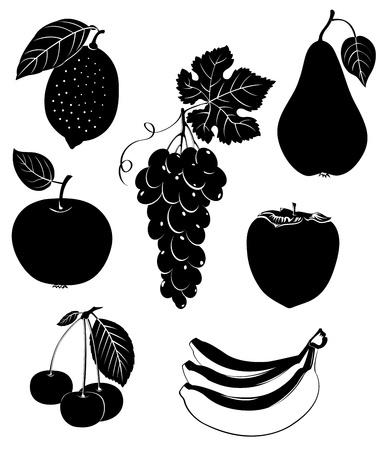 Set of silhouettes of fruit. Stock Illustratie