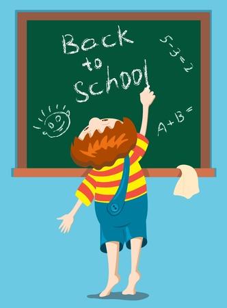 The boy writes on a blackboard. Ilustração