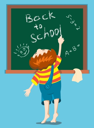 child of school age: The boy writes on a blackboard. Illustration