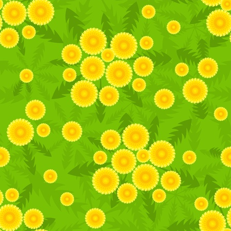 orange gerbera: Yellow dandelion seamless pattern.