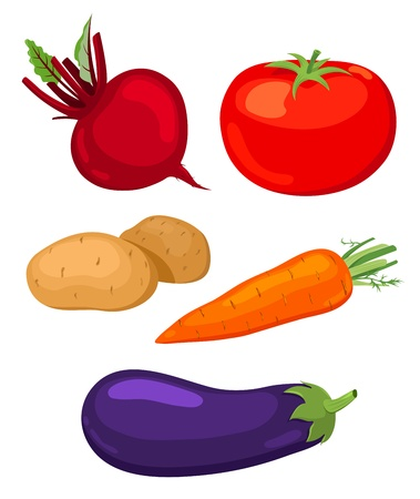 carrot isolated: Set of vegetables. Illustration