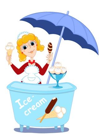 carretto gelati: Ragazza e gelato.