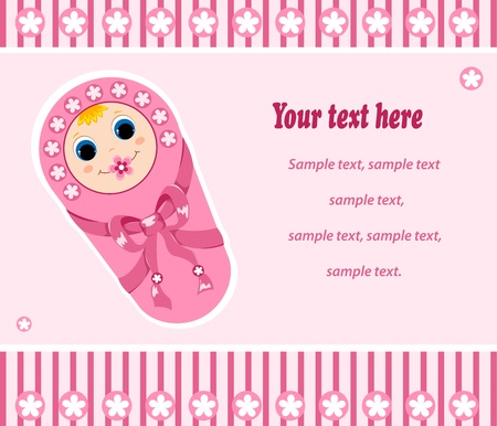 Baby girl card. Vector illustration. Isolated on white. Stock Vector - 10569764
