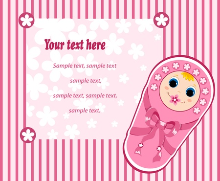 new born baby girl: Baby girl card. Vector illustration. Isolated on white. Illustration