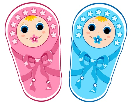 twin sister: Baby boy and baby girl.Vector illustration. Isolated on white.