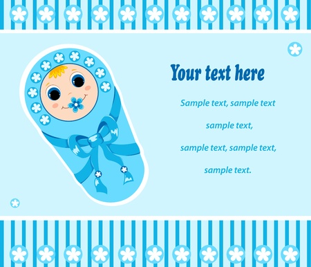 dummies: Baby boy card. Vector illustration. Isolated on white.