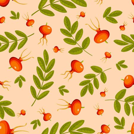 Rose hip seamless beige pattern. Vector background. Vector