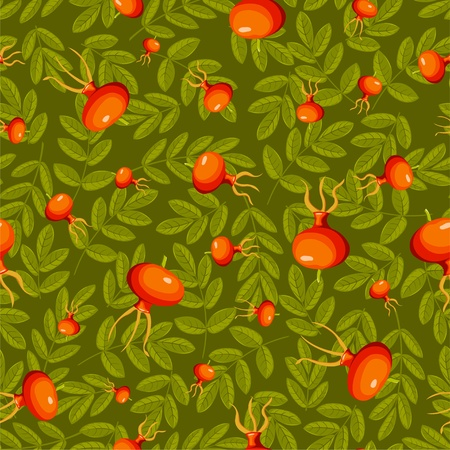 Rose hip seamless green pattern. Vector background. Vector