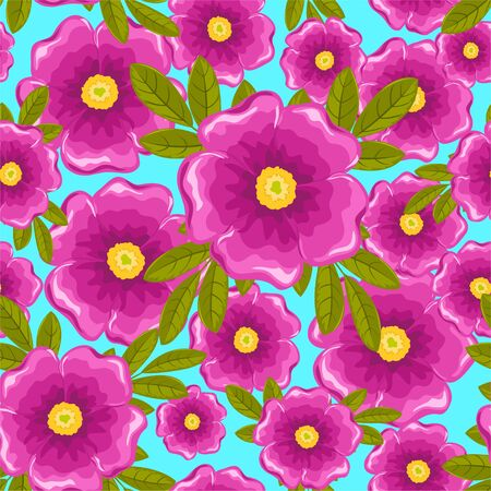 Dogrose seamless pattern. Pink and blue. Vector background. Illustration