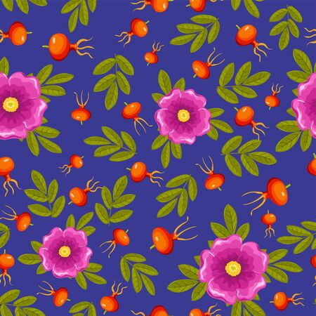 Dogrose seamless pattern. Dark blue, pink and orange. Vector background. Vector