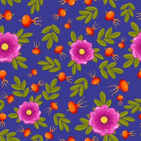 wildrose: Dogrose seamless pattern. Dark blue, pink and orange. Vector background. Illustration