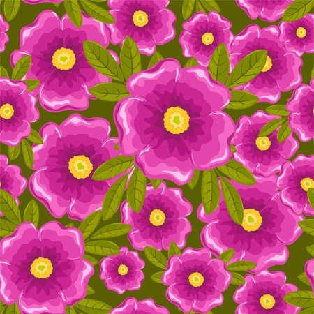 pink bushes: Dogrose seamless pattern. Pink and green. Vector background.