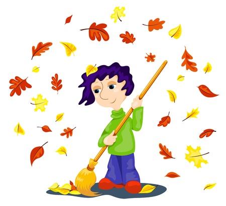 De jongen reinigt herfstbladeren. Cartoon vector illustratie.