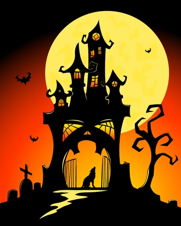 ghostly: Black halloween castle and moon. Vector cartoon illustration.