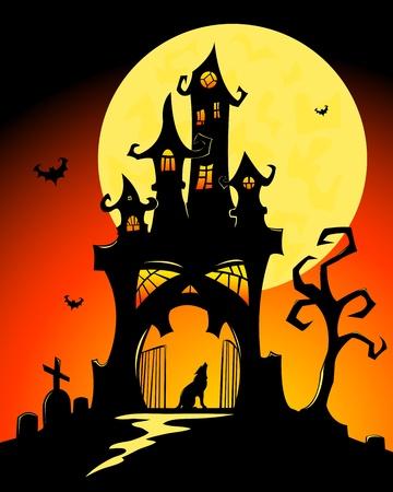 Nero halloween castello e la luna. Cartoon illustrazione vettoriale.