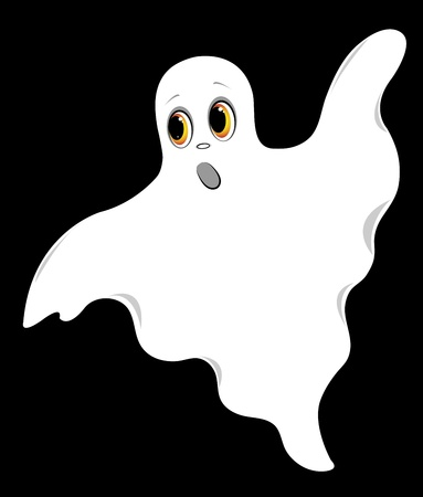 Set of ghosts. On a black background. Vector illustration.