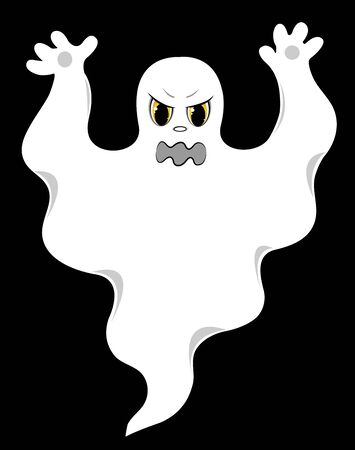 malicious: Evil ghost. On a black background. Vector illustration.