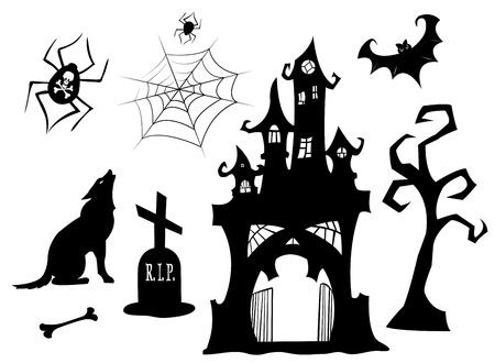 Set di sagome di Halloween. Nero isolato su bianco. Illustrazione vettoriale.