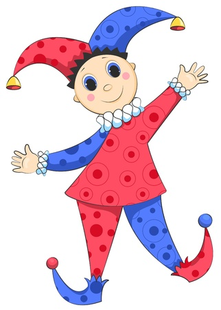 Cartoon harlequin isolated on white. Vector illustration.