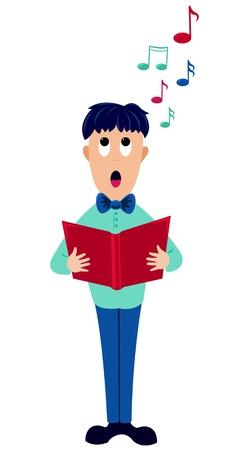songbook: Cartoon singer boy. Vector Illustration. Isolatid on white.