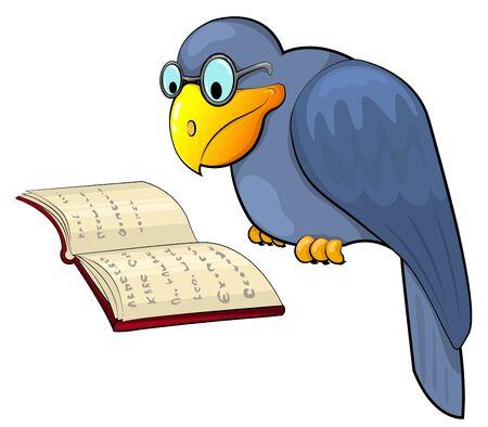 reading glass: Cuervo, lee el libro de dibujos animados. Vecor ilustraci�n. Aislado en blanco.