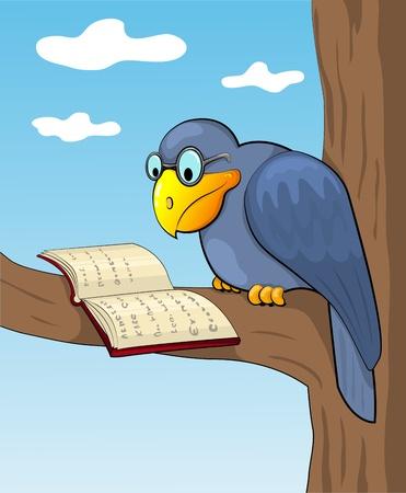 reading glass: Cuervo dibujos animados se sienta en un �rbol y lee el libro. Vecor ilustraci�n.