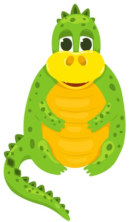 Small cartoon dragon 1. Vector illustration. Isolated on white. Vector