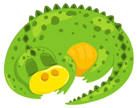 Small cartoon dragon sleep. Vector illustration. Isolated on white. Vector