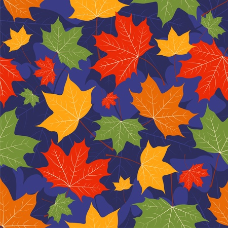 Autumn leaves of a maple on dark blue. Seamless pattern. Vector background Vector
