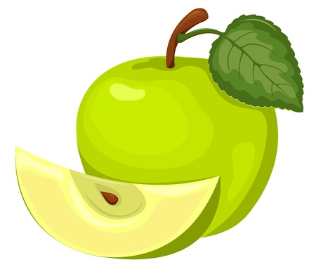 apple slice: Green apple. Whole and a part. Vector illustration. Isolated on white.