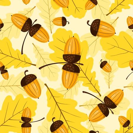 Seamless oak pattern. Acorns and leaves. Vector background. Illustration
