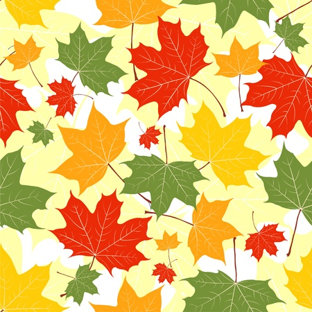 Autumn leaves of a maple on yellow. Seamless pattern. Vector background Vector
