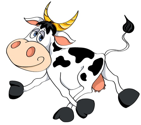 Cartoon white cow runs. Vector illustration. Isolated on white.