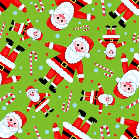 Seamless santas pattern on the green. Vector background.