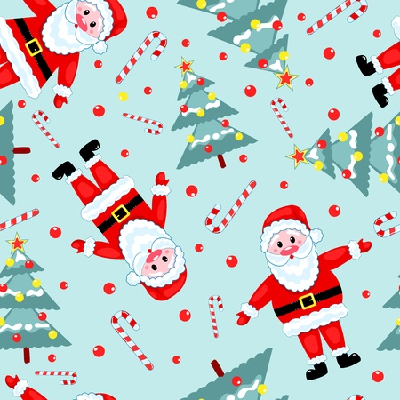 Christmas seamless pattern. Santa, fur-three and candy. Vector background. Vector