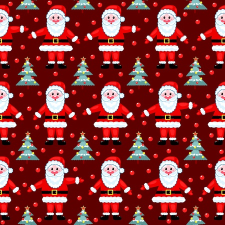 christmas wrapping: Red santas seamless pattern. On red. Vector background.