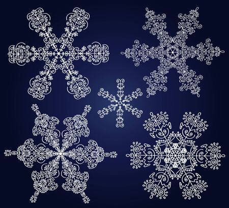 Set of ornamental snowflakes. Vector christmas illustration. Stock Vector - 11078075