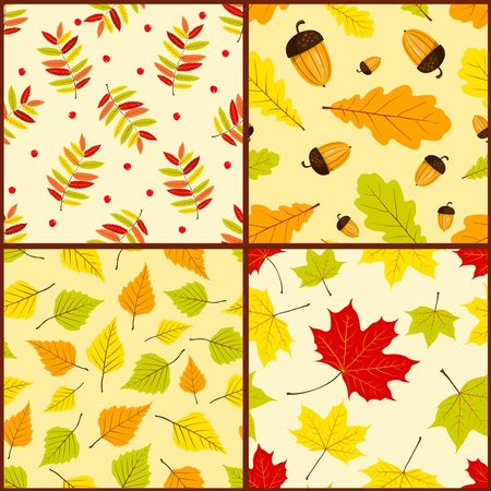 Four autumn seamless patterns. Vector color backgrounds. Vector