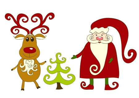 Santa, reindeer and tree. Isolated on white. illustration. Vector