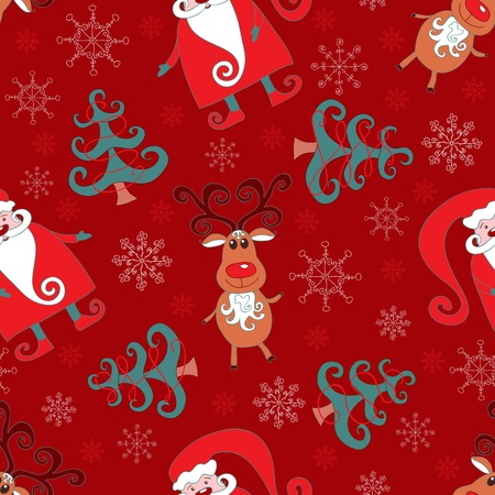 Red seamless christmas pattern 1. background. Vector