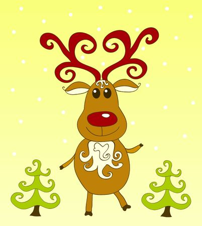 Christmas card. Rudolph on the yellow. illustration. Stock Vector - 11596275