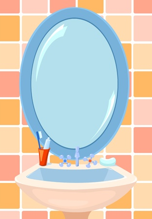 reflection in mirror: Mirror and bowl in a bathroom. Vector illustration.
