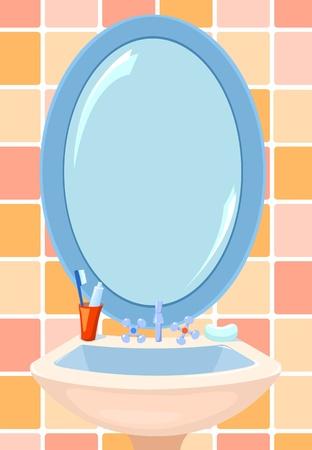 Spiegel en kom in een badkamer. Vector illustratie.